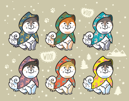 Husky puppies set in colorful raincoats. Cartoon vector illustration