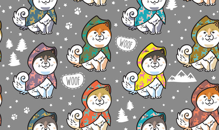 Seamless pattern with cute siberian husky puppies in colorful raincoats. Different breeds of dogs. Akita inu, shiba inu, malamute isolated on gray background