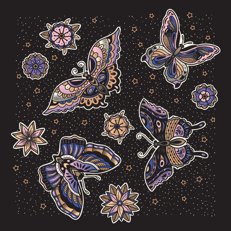 Collection of butterfly and flower tattoo in old school style. Illustration