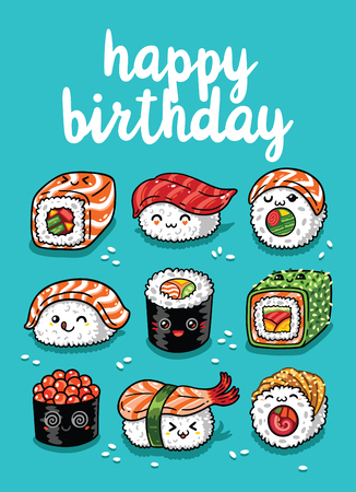 Happy Birthday greeting card with cartoon sushi in style. Vector illustration