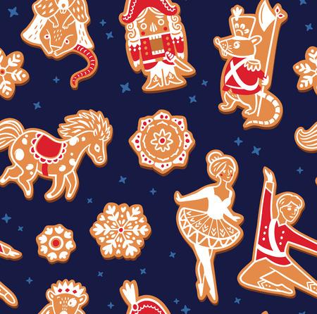 Kerst peperkoek naadloze patroon met met notenkraker tekens. Vector illustratie Stock Illustratie