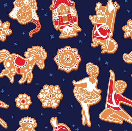 Christmas gingerbread seamless pattern with with Nutcracker characters. Vector illustration