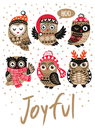 Winter print with cartoon owls and text Joyful in vector