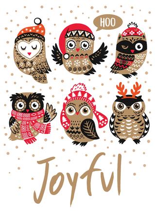 Winter print with cartoon owls and text Joyful in vector