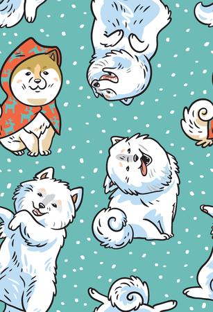 犬とのシームレスなベクトルパターン。秋田犬とサモイド子犬  イラスト・ベクター素材