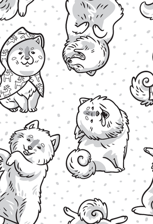 Ink samoyed puppies in the snow. Vector endless background