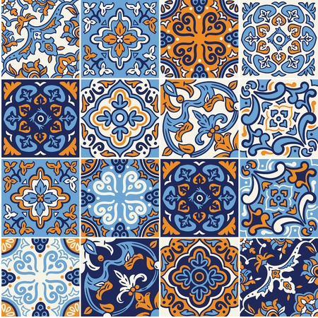 Collection of Spanish ceramic seamless pattern in blue and orange colors. Mosaic patchwork ornaments for design and fashion.