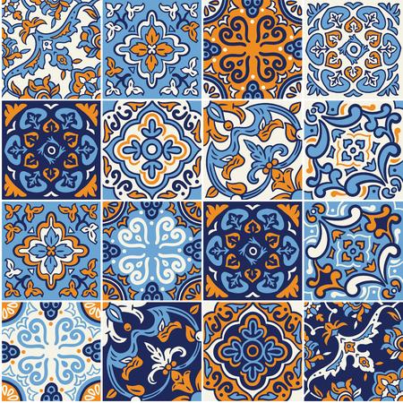 collection de mosaïque céramique espagnole seamless dans des couleurs bleu et orange. ornements de mosaïque pour la conception et le pochoir