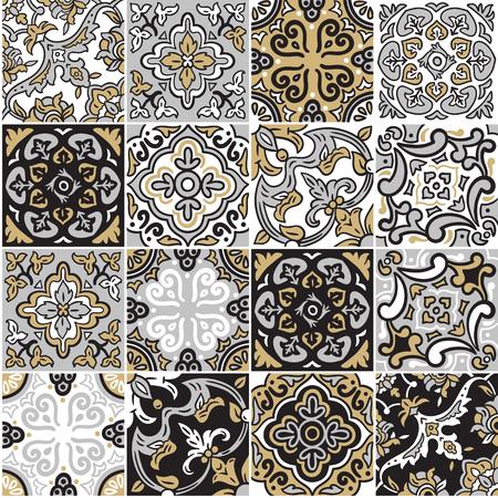 Colección de patrones sin fisuras de cerámica española en colores gris, dorado y negro. Adornos de mosaico mosaico para diseño y moda. Ilustración de vector