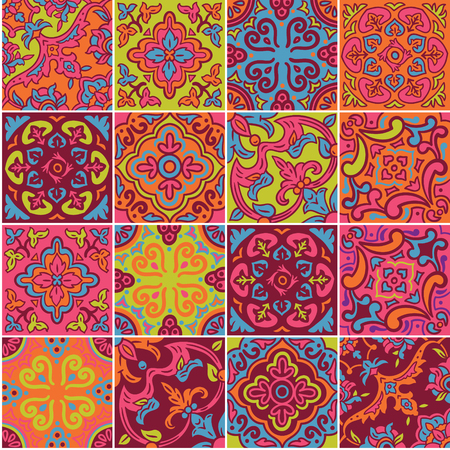 Spanish ceramic seamless pattern in red, yellow and blue colors.