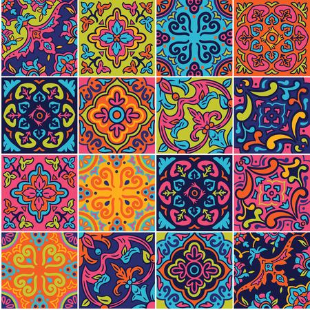 Patrón sin costuras de cerámica española en colores rosa, azul y naranja. Adornos de mosaico mosaico para diseño y moda. Ilustración de vector