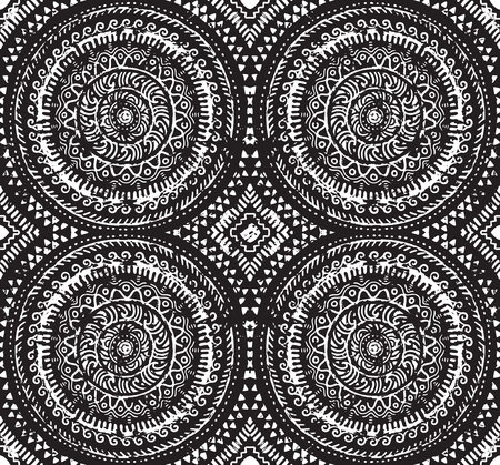 Abstract ink african seamless pattern, circle design for fashion fabric, knit, textile, batic Banque d'images - 95226960