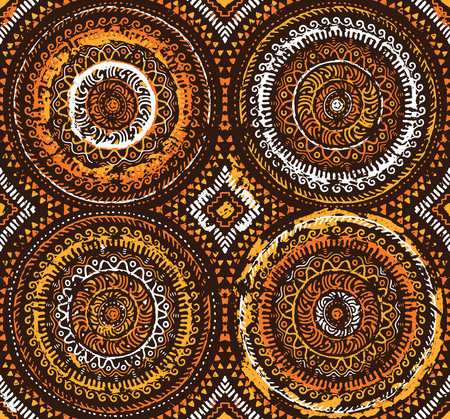 Orange decorative seamless pattern in african style. Ethnic art. Hand drawn illustration