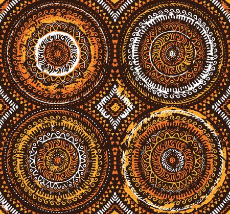 Orange decorative seamless pattern in african style. Ethnic art. Hand drawn illustration
