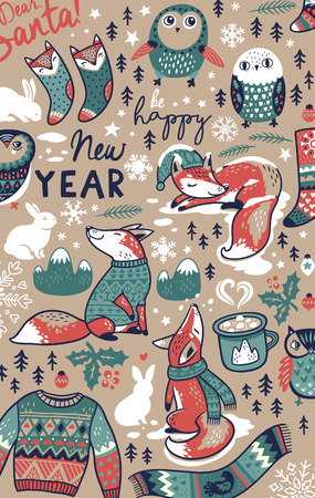 Merry Christmas hand drawn elements in cartoon style background. Vector illustration
