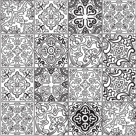 Ceramic tile with outline patchwork in spanish style 일러스트