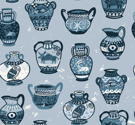 Collection of amphora and vase wih cartoon animals and decorative ornament in Greek style