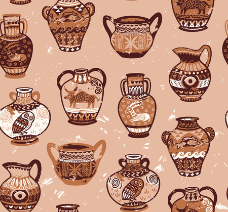 Collection of amphora and vase wih cartoon animals and decorative ornament in the Greek style Çizim