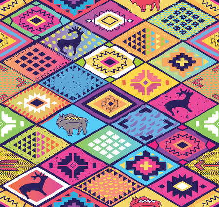 Seamless ethnic pattern with rhombuses, arrows and animals elements. Aztec fancy abstract geometric art