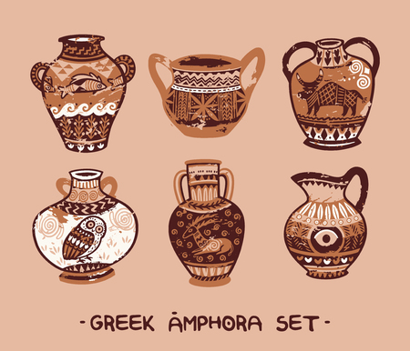 Collection of amphora and vase in the Greek style