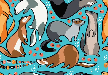 Cute cartoon ferrets seamless pattern. Vector illustration Vectores