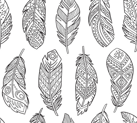 Tribal Feathers in contour endless background. Boho style