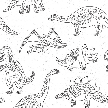 Cute cartoon dinosaur skeletons silhouettes seamless pattern in outline. Vector illustration
