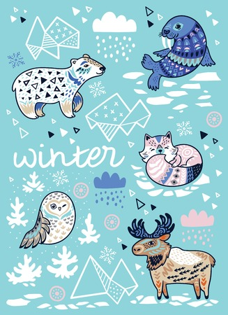 Winter greeting card with cartoon north animals, geometric iceberg and mountains. Holiday vector illustration Stock Illustratie