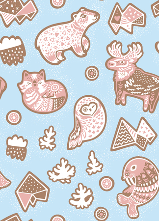 Holiday seamless pattern with ginger cookies. North Pole animals figures in cartoon style Illustration
