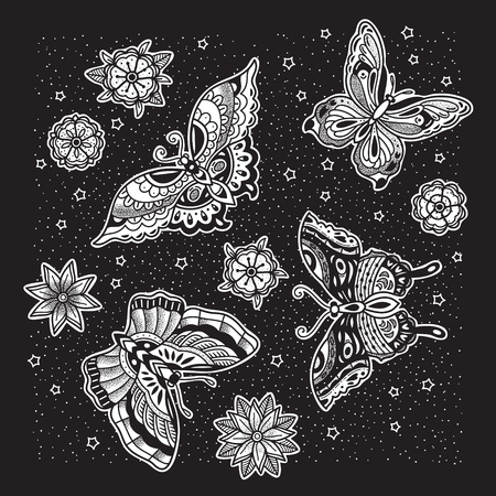 Collection of ink butterfly and flower tattoo in old school style. Illustration
