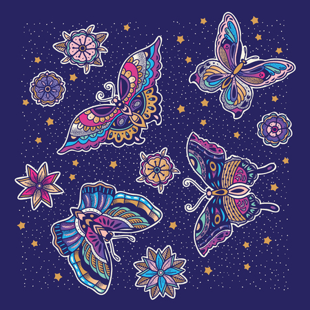 Collection of butterfly and flower tattoo in old school style. Vectores