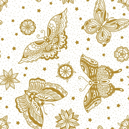 Vintage style traditional tattoo flash butterflies and flowers seamless pattern in gold