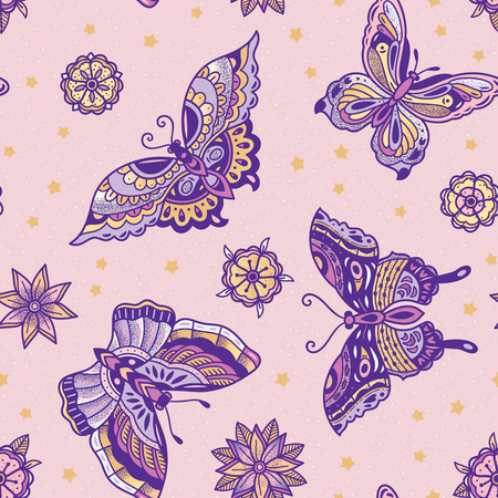 Old school tattoo butterflies and flowers seamless pattern