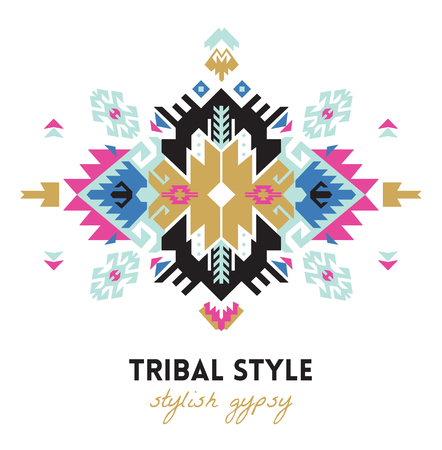 Ethnic design card template. Geometric tribal decorative print in boho style.  イラスト・ベクター素材