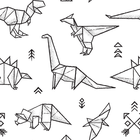 Origami dinosaurs seamless pattern in black and white colors. Hand drawn vector illustration.