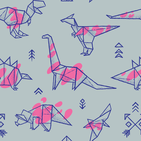 Origami dinosaurs with splashes seamless pattern in trendy hand drawn vector illustration.
