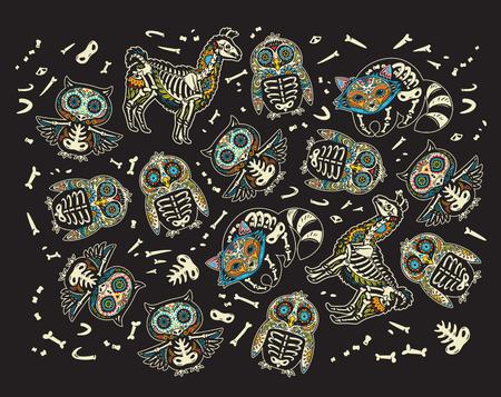 Owl, penguin, llama and raccoon sugar skull vector illustration.