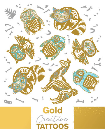 Owl, penguin, llama and raccoon sugar skull in metallic gold, silver and blue color vector animals skeleton.