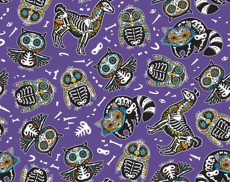 Owl, penguin, llama and raccoon sugar skull vector background illustration.