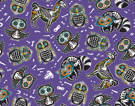 Owl, penguin, llama and raccoon sugar skull vector background illustration.