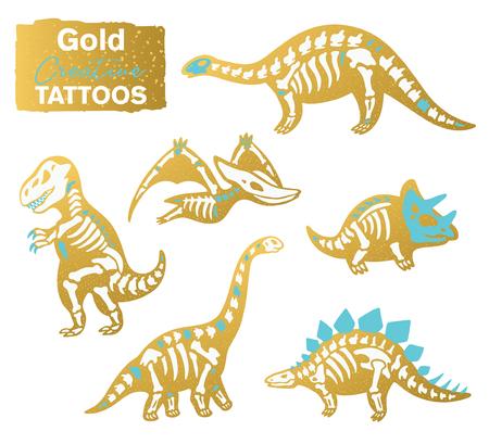Golden set with cartoon skeletons of dinosaurs vector illustration.