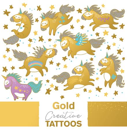 Golden set with cartoon unicorns vector illustration.