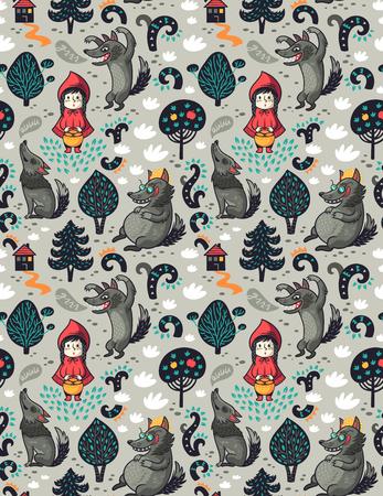 Caperucita Roja de patrones sin fisuras y lobo hambriento gris en el bosque. Fondo de imaginación de cuento de hadas.