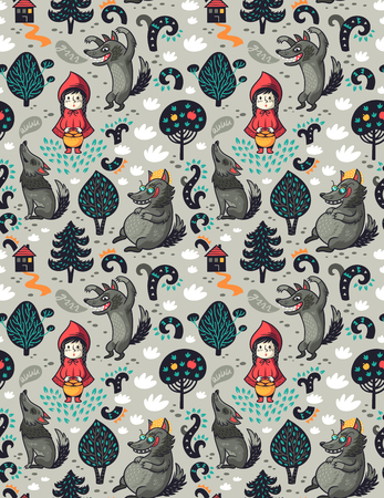 Little red riding hood seamless pattern and gray hungry wolf in the forest. Fairytale imagination background. Vettoriali