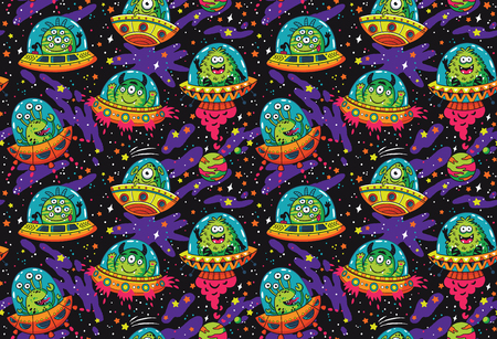 Cute cartoon UFO in the space seamless pattern vector illustration.