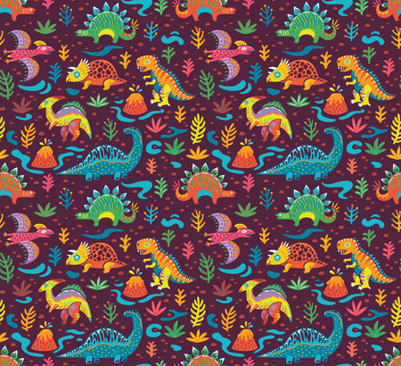 Cute seamless pattern little cartoon dinosaurs and flowers. Ideal for kids, art prints and surface.