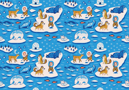 Ornamental polar animals seamless pattern, cartoon Eskimos, yurts and huskies vector illustration.
