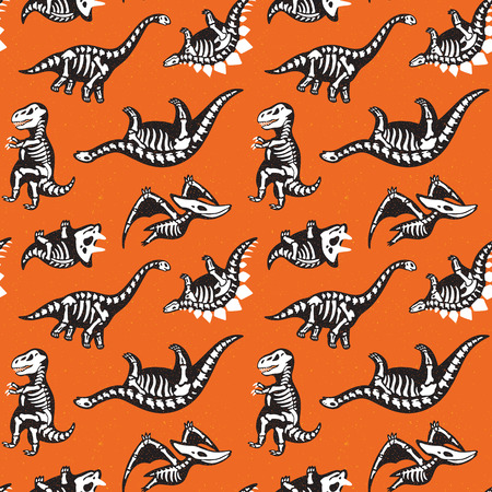 Cute seamless pattern scary silhouettes of dinosaurs with a skeleton. Halloween holidays orange background. Illustration