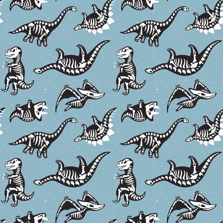 Cute seamless pattern scary silhouettes of dinosaurs with a skeleton. Halloween holidays blue background.