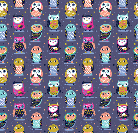 Little owls seamless pattern and stars in night colors. Ideal for kids surface background and fabric.